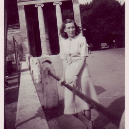 Joan (Douglas' Wife) in Paizza de Popolo, 1948